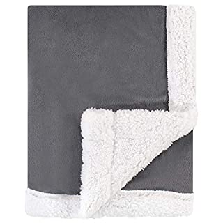 Hudson Baby Unisex Baby Plush Blanket with Sherpa Back, Charcoal White, One Size