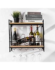 Tinyuet wijnrek wandmontage, 54,8 cm duurzaam praktisch solide en eenvoudige installatie wijnhouder, elegante opslag glashouder voor keuken eetkamer wijnkelder bar