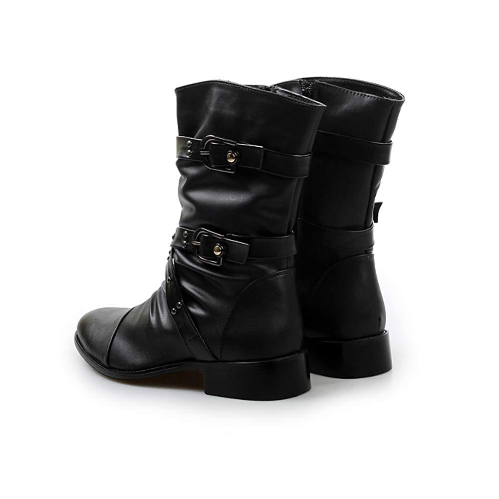 wholesale dealer 26d00 94d69 ... Sunny Baby Men s Combat Mid-Calf Boots Belt Belt Belt Buckle Slouchy  Genuine Leather Vamp Style ...