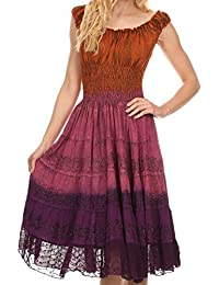 Sakkas Balayga Ombre Tie Dye Batik Adjustable Ruffle Tank Top Sleeveless Dress