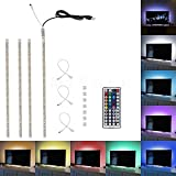Minger USB LED Strip Lights Kit,4pcs×1.64ft TV Backlight kit, 4 Pre-Cut One Foot Strips & 3 Wire Mounting Clips & 44 Key Mini Remote Control Multicolor RGB Home Accent LED Tape Light Strip for TV Back Light