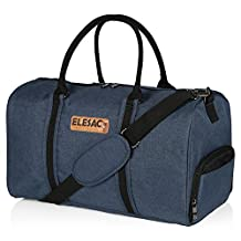 EleSac Canvas Style Duffel Bag for Men and Women with Shoe Compartment – Weekend Bag for Gym Overnight Baggage Carry On Hand Luggage and Short Trips, Travel Duffel Express