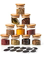 EZOWare 10 Bottles 70ML Extra Small Glass Jar Set, Airtight Clear Canister Storage Containers with Natural Bamboo Lids and Chalkboard Labels for Kitchen Spices, Bathroom, Party Favors