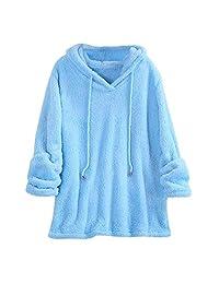 Clearance Women Fuzzy Fleece Jacket Open Front Hooded Cardigan Coat Outwear