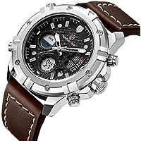 Moda de lujo marca para hombres, resistente al agua Digital Analógico Militar relojes de los deportes de hombre de piel café de cuarzo reloj de pulsera