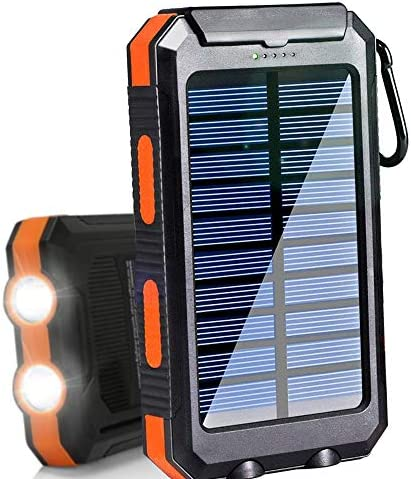 2 USB Output Solar Battery Charger with LED Flashlight for iPhone 8//X//iPhone 11 20000mAh Solar Charger Solar Power Bank Smart Phones and Outdoor Sport