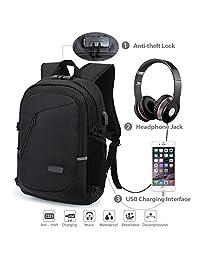 Mochila antirrobo, Mochila Daypack de 35L con puerto de carga USB Interfaz para auriculares y bloqueo con contraseña, mochila impermeable a diario, mochila para portátil de 12-16 pulgadas, estudiantes (Gris) (El negro)