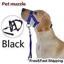 Black Pet Adjustable Dog Muzzle Fabric Nylon Comfortable Soft No Bark Bite Chew Size:Black S