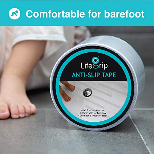 Comfortable for Bare feet Transparent Tub and Shower Treads LifeGrip Anti Slip Waterproof Clear Safety Tape Pools Soft adds Non-Slip Traction to Tubs Boats Stairs 2 X 30 2 inch X 30 feet