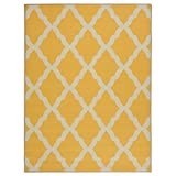 "Ottomanson Glamour Collection Contemporary Moroccan Trellis Design Kids Rug Lattice Area Rug Non-slip Kitchen & Bathroom Mat Rug, 5'0""x6'6"", Yellow"