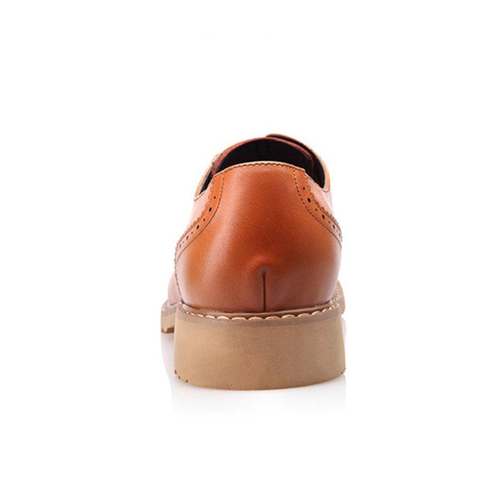 Feidaeu Herren Brogue Schuhe Atmungsaktive Perforierte Auto Nähte Rundzehen Atmungsaktive Schuhe Gummi Sohle Dämpfung Entspannt Britische Derby SchnürSchuhe Gelb 1b8b8b