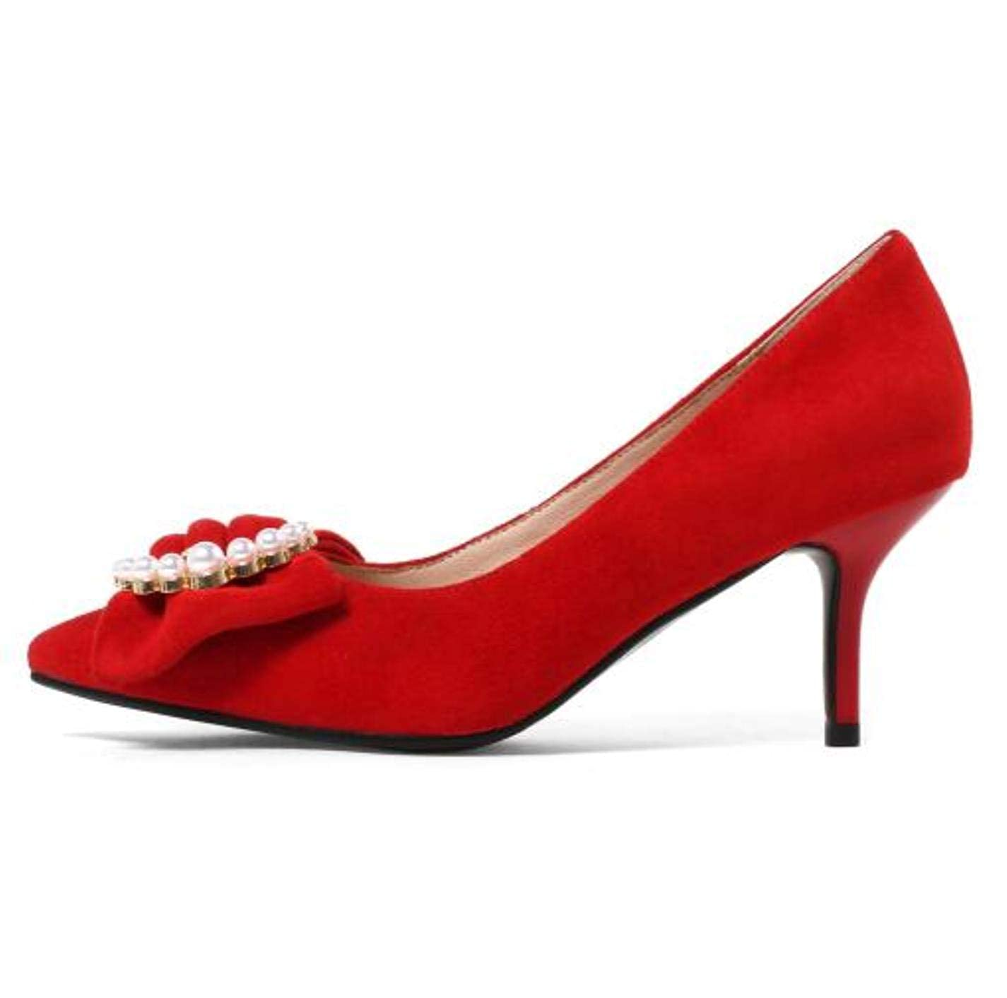 Red Slip On Butterfly Knot shoes Office Wedding shoes High Heels 8cm