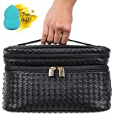 Cosmetic Makeup Bag & Organizer for Women | Train Case Style with Double Zipper...