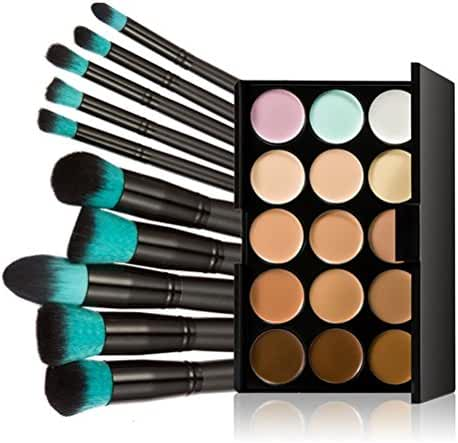 Tinksky 10 Makeup Brushes + 15 Colors Concealer Palette Highlighting Contour Face Cream Makeup Contouring Kit