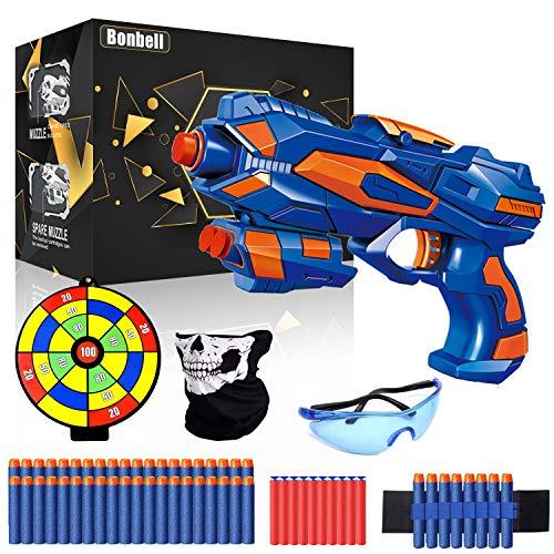 Pistole Giocattolo, Pistole Blaster con 40 Freccette in Schiuma, Occhiali Protettivi, Maschera, Cinturini da Polso e Bersaglio, Pistola Giocattolo Regalo di Compleanno per Bambini di 3-12 Anni