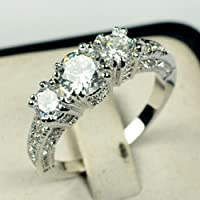 suchadaluckyshop Size 4-12 White Sapphire Silver Wedding Band Ring 10KT White Gold Filled Jewelry (11)