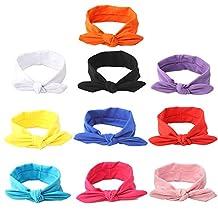GBATERI 10pcs Baby Girls Cotton Soft Bow Headbands Solid Bunny Ears Hairband