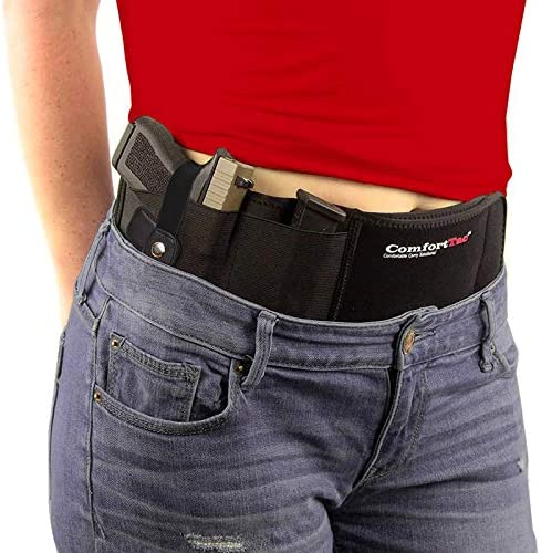 ComfortTac Ultimate Belly Band Gun Holster for Concealed Carry | Compatible with Smith and Wesson, Shield, Glock 19, 17, 42, 43, P238, Ruger LCP, and Similar Guns, for Men and Women