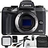Canon EOS M5 Mirrorless Digital Camera (Body Only) 8PC Bundle - Includes 64GB SD Memory Card, LED Video Light, Carrying Case, MORE - International Version (No Warranty)