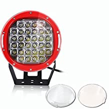 """TURBOSII 9"""" 96W 12-24V Round LED Auxiliary Spot Backup OffRoad Driving Fog light bar For Bumper Roll Cage Pillar Roof Grill Windshield Fits Land Rover Truck Tundra Tacoma Heavy-Duty Ford Tractor"""