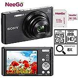 Sony DSCW830 20.1 MP Digital Camera with 2.7-Inch LCD + A NeeGo 32GB Micro SD Card (Black)