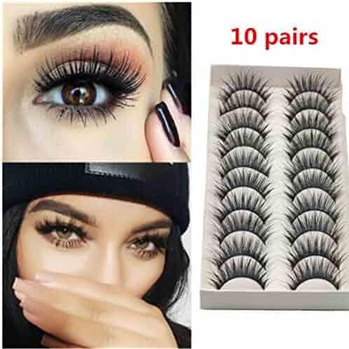 9dcd51d2b65 Oksale® 10 Pairs Thick Long Cross Party False Eyelashes Black Band Fake Eye  Lashes