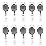 Fushing 10Pcs Retractable Badge Holder Carabiner Reel Clip On ID Card Holders (Black)