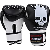 HYSENM Skull Pattern Cool Men Boxing Training Gloves 8oz/10oz Sparring Fight Muay Thai Punching Bag Mitts Durable Wear-Resistant