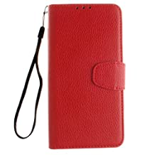 Amaxy For OnePlus 2 - Flip Case, Premium PU Leather Wallet with the Stand Function [Card Slots] [Magnetic Closure] Case Cover (Red)