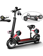 Electric Scooter, Foldable E-Scooter Max Speed 45km/h, 50KM Range for Adult, USB Charger for Mobile phone, LCD Display,10 inch Air Filled Tires, with LED Light, with Seat