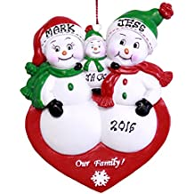Personalized Snowman Family Of 3 Ornament - Free Personalization