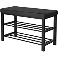 SONGMICS 32 L Metal Shoe Rack Bench, 2-Tier Entryway Shoe Storage Organizer with Comfy cushioned seat, Holds Up to 440 Lbs, Black,ULBS58H