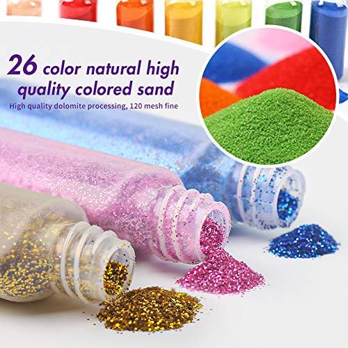 3 otters Sand Art Kit, Kids\' Sand Art Kits Colored Sand Art Kit for Children, with 20 Sheets Sand Art Painting Cards Set Children Art Toy, 26 Colors