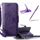 PU Leather Case For Huawei P9,Strap Magnetic Wallet Folio Cover for Huawei P9,Herzzer Elegant Slim Purple [Love Hearts Flower Embossed] Stand Phone Case