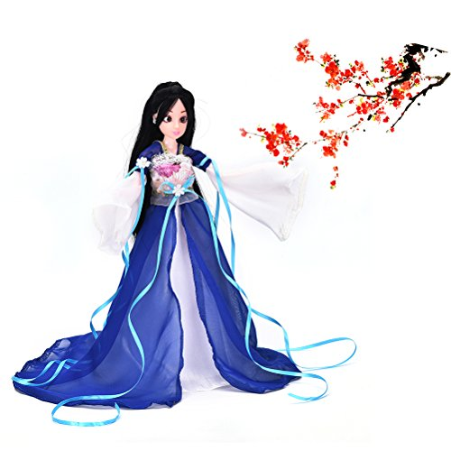 CoscosX Chinese Style Handmade Ancient costume Dress for 11.8 Doll Barbie (Blue)