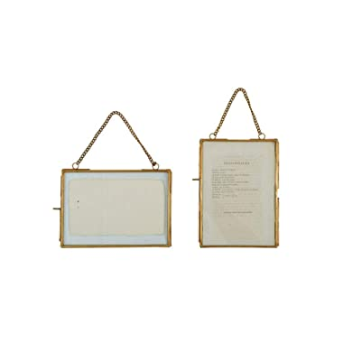 Creative Co-Op Turn of the Century 2 Piece Brass and Glass Picture Frame Set,Gold,5  by 7