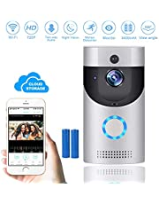 Wireless Video Doorbell, KAMREA WiFi 720P HD Smart Doorbell Security Camera with Night-Vision, Motion Detection, 2-Way Talkback, Extra-long Battery Life, App Remote Control for iOS/Android (No Chime)