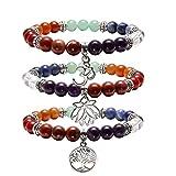 Jovivi 3pc 7 Chakras Yoga Meditation Healing Balancing Round Stone Beads Stretch Bracelet with Tree of Life Lotus Charm