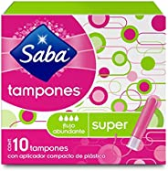 Saba Saba Tampón Con Aplicador Compacto; Absorción Súper/ Flujo Abundante; 10 Piezas, color, 10 count, pack of