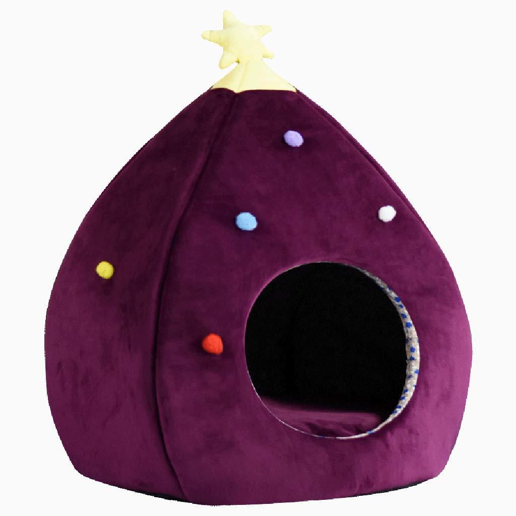 Purple Ronghuafugui Christmas Tree Pet Bed Small Dog Cat Nest, Teddy Dog Kennel Winter Pet Nest Green Purple (color   PURPLE)