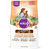 Halo Grain Free Natural Dry Cat Food, Indoor Healthy Weight Chicken & Chicken Liver Recipe, 3-Pound Bag