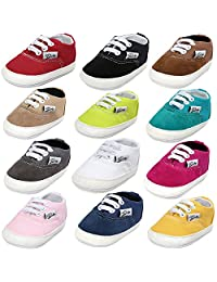 BENHERO Baby Boys Girls Canvas Toddler Sneaker Anti-slip First Walkers Candy Shoes 0-18 Months 12 Colors