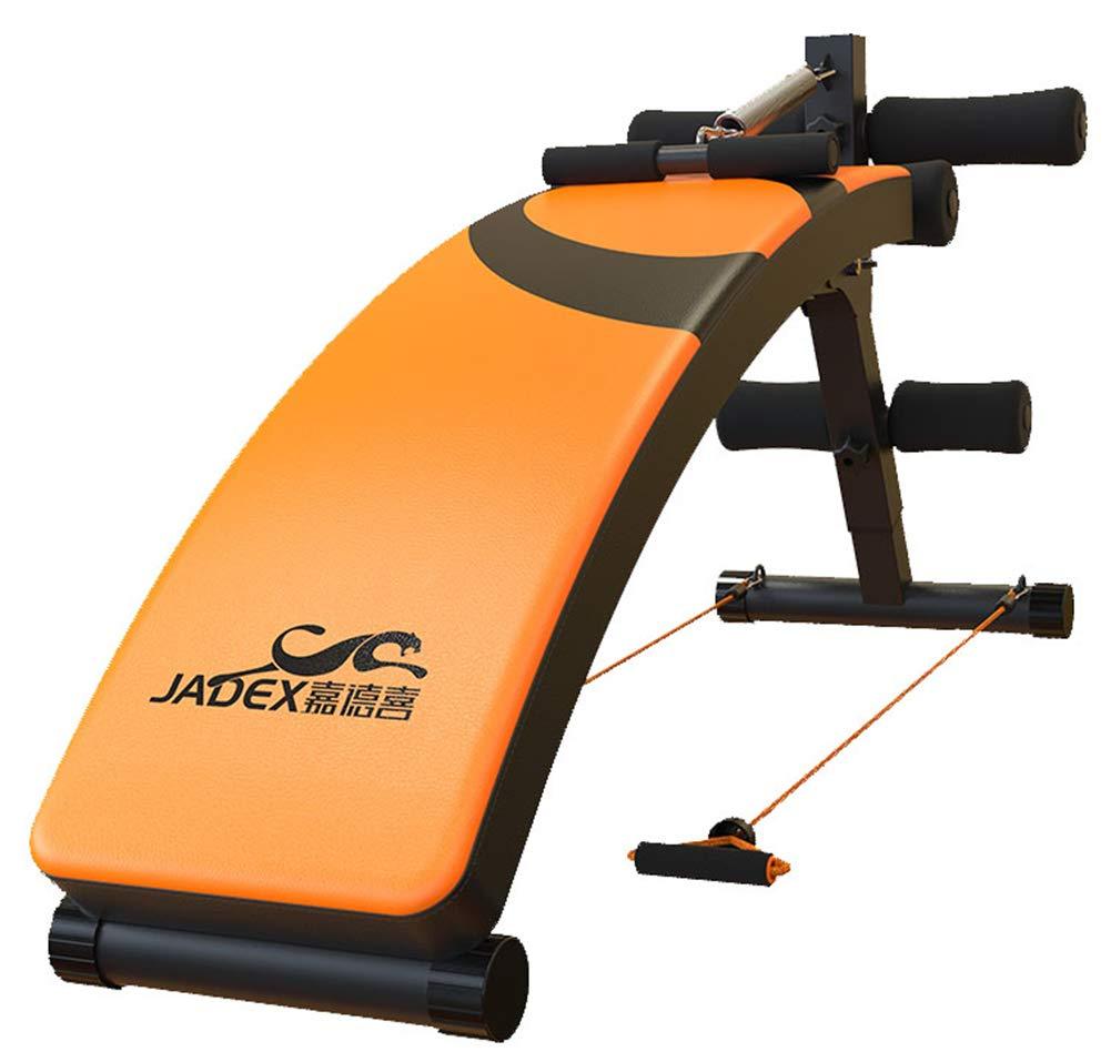 Einstellbarer Gewichtsbench Sit Up Bench Falttrainer Mit Pulling Rope 4 Levels Höhe Von Flach Nach Incline Dekline Für Full Body Workout Orange