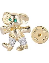 Austrian Crystal Happy Little Elephant Animal Lapel Pin Clear Gold-Tone
