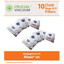 10 Miele GN Deluxe Cloth Bags fits Miele Vacuum Style GN, Allergen Vacuum Bags 10 Bags and 4 Filters Per Pack, Designed & Engineered by Crucial Vacuum