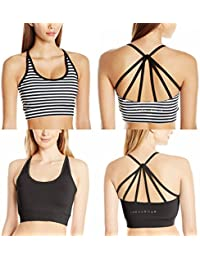 The Warm Up by Jessica Simpson Junior's Strappy High Impact Padded Sports Bra with Contrast Criss-Cross Piping