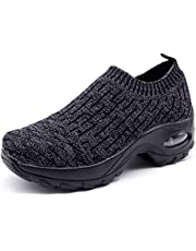best service 33c37 10d9e HKR Womens Walking Tennis Shoes Slip On Light Weight Mesh Platform Air  Sneakers