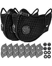 AstroAI Återanvändbar dammansiktsmask med 14 filter - personligt skydd justerbar för löpning, cykling, utomhusaktiviteter (svart, 2 mask + 14 aktiverade kolfilter + 8 andningsventiler)