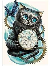 Kit per pittura fai da te con diamanti 5D,Diamond painting gatti,Dipinto su tela con disegno di un grazioso gattino, da ricamare a punto croce e decorare con diamanti, decorazione da parete Clock Cat