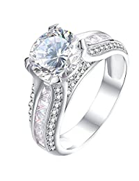 Newshe Anniversary 2.3ct Round Cut Halo White Cz 925 Sterling Silver Wedding Engagement Ring Size 5-10